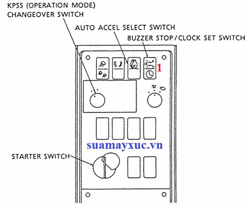 Nút bấm trên cabin máy xúc kobelco sk200-1